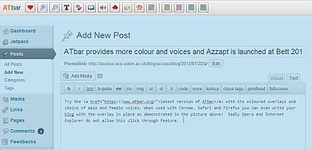 ATbar overlay in WordPress