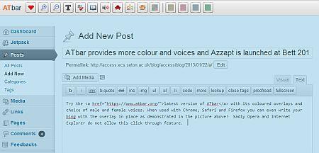 ATbar overlay in Wordpress