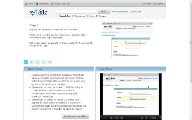 Synote researcher homepage