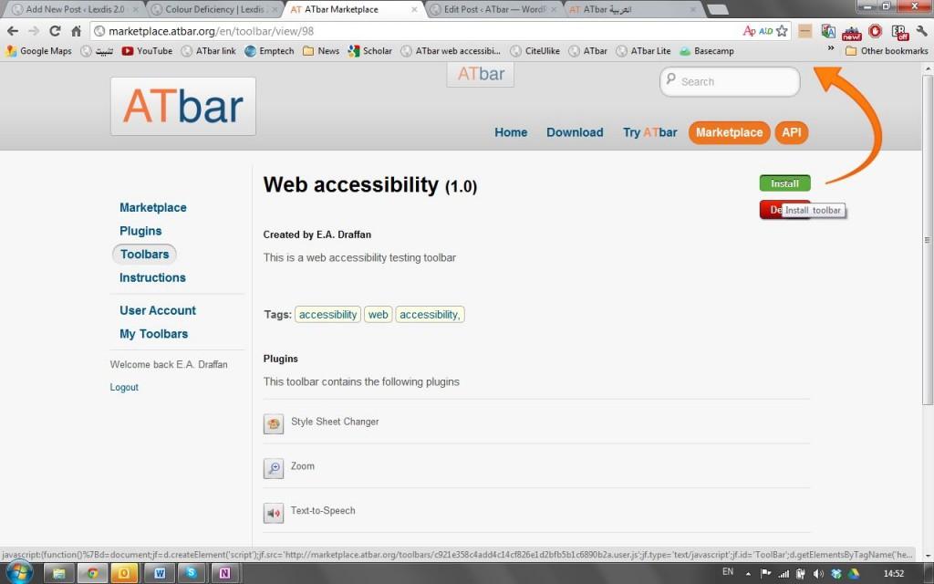 toolbar link