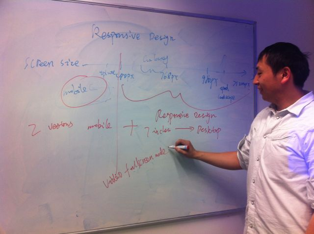 Yunjia writing on a white board sowing responsive design plans