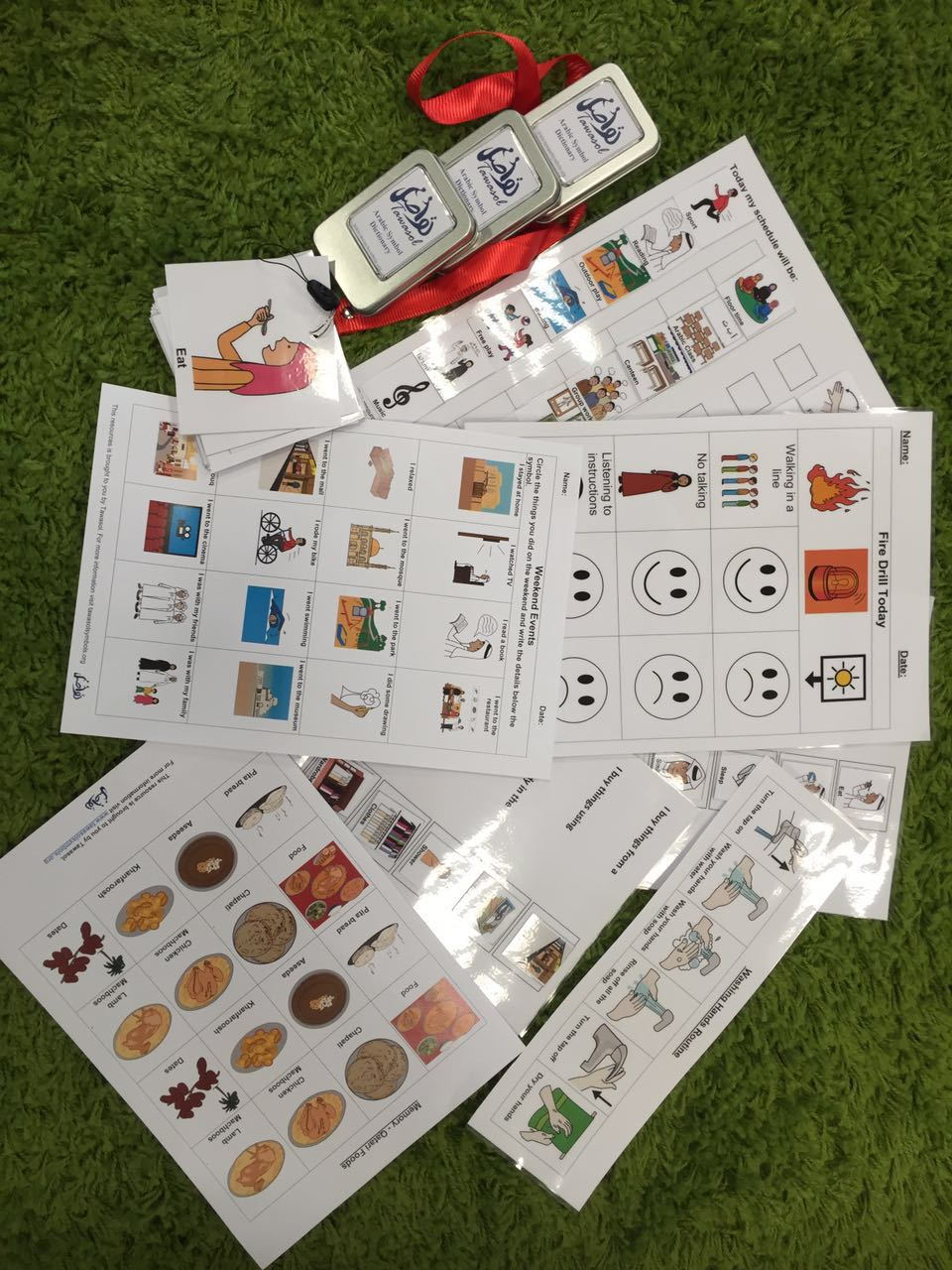laminated worksheets with symbols