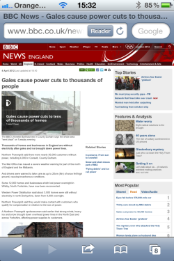 BBC News iPhone screen capture