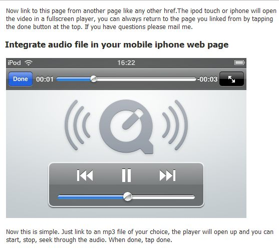 audio player in iphone